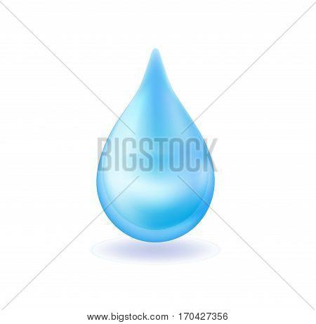 Realistic blue water drop. 3d icon droplet falls. Vector illustration
