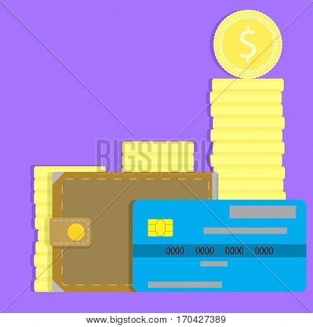 Money concept credit card wallet and coin. Vector illustration