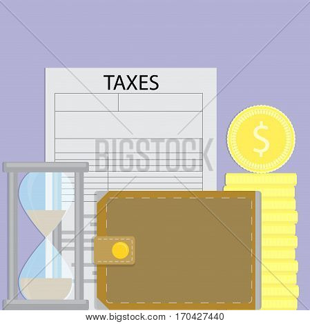 Time to pay taxes. Business finance taxation vector illustration