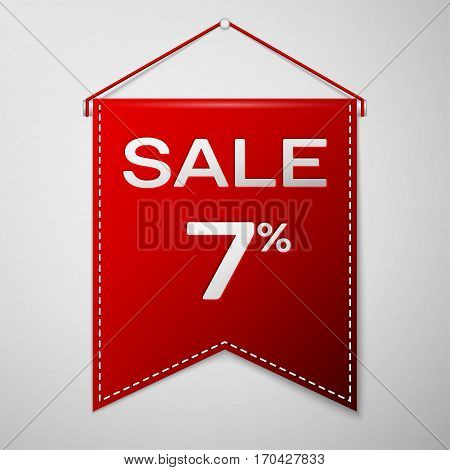 Red pennant with inscription sale seven percent Discounts over a grey background. Sale concept for shops store market, web and other commerce. Vector illustration.