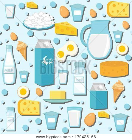 Dairy products seamless pattern with milk, cheese. Dairies background, texture, paper. Vector illustration