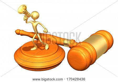 Legal Gavel Concept With The Original 3D Character Illustration Using A Megaphone