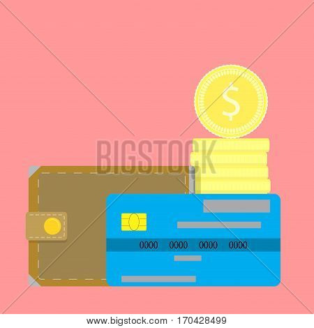 Money vector concept. Finance stack and credit card with wallet illustration