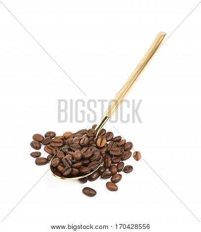 Metal teaspoon filled with the coffee beans, composition isolated over the white background