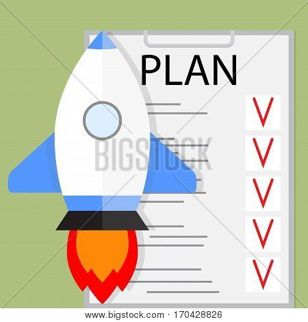 Planning startup vector. Development and growth startup idea illustration