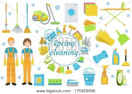 Spring Cleaning icons, flat style. Housekeeping frame with tools isolated on white background. Vector illustration