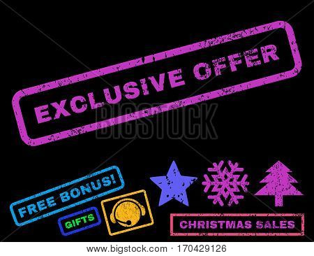 Exclusive Offer text rubber seal stamp watermark with additional bonus christmas symbols. Tag inside rectangular banner with grunge design and scratched texture.