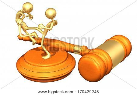 Law Legal Gavel Concept With The Original 3D Character Illustrations Fighting