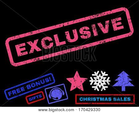 Exclusive text rubber seal stamp watermark with bonus new year symbols. Tag inside rectangular banner with grunge design and scratched texture.