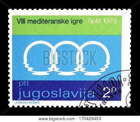 YUGOSLAVIA - CIRCA 1979 : Cancelled postage stamp printed by Yugoslavia, that shows Mediterranean games logo.