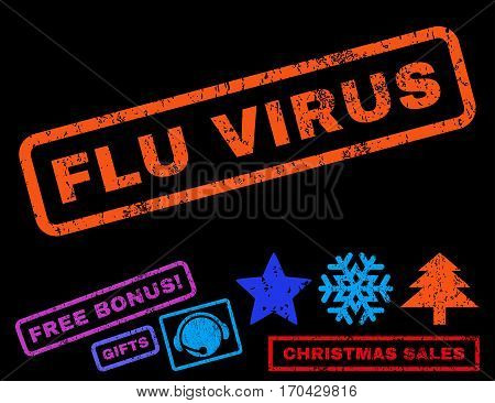 Flu Virus text rubber seal stamp watermark with additional bonus new year symbols. Caption inside rectangular banner with grunge design and scratched texture.