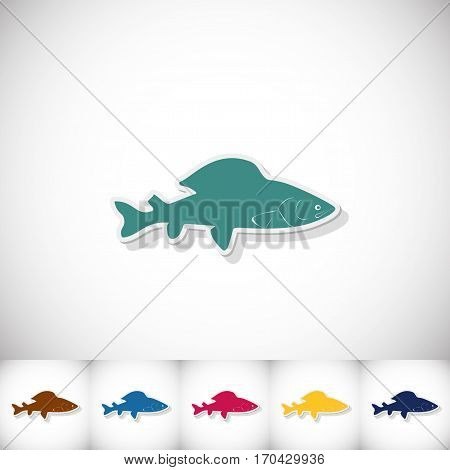 Fish grayling. Flat sticker with shadow on white background. Vector illustration