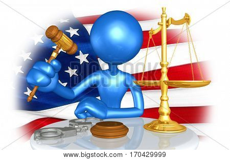 United States Of America Law Concept With The Original 3D Character Illustration
