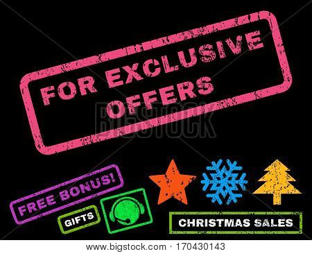 For Exclusive Offers text rubber seal stamp watermark with additional bonus christmas symbols. Tag inside rectangular shape with grunge design and dust texture.