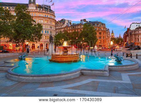 London Trafalgar Square fountain at sunset England