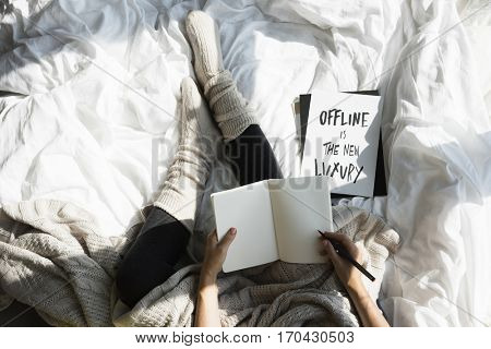 Offline Is The New Luxury Woman Writing Sketch