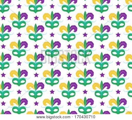 Mardi Gras seamless pattern with carnival mask. Masquerade background, texture, paper. Vector illustration