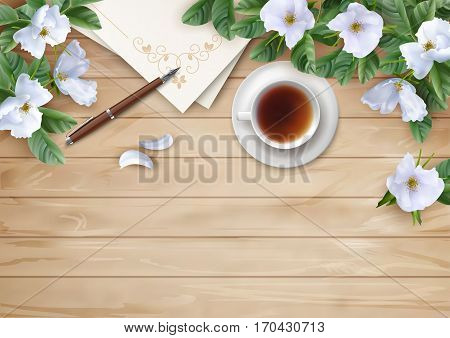 Decorative vector flat lay composition with white flowers. Top view on wooden background