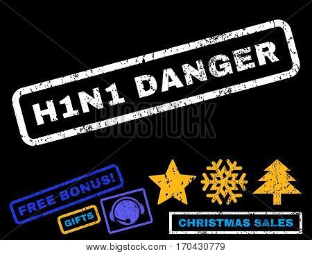 H1N1 Danger text rubber seal stamp watermark with additional bonus christmas symbols. Tag inside rectangular banner with grunge design and scratched texture.