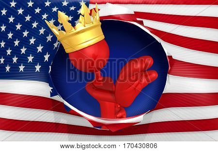 The King Of America Stopping Entry The Original 3D Character Illustration