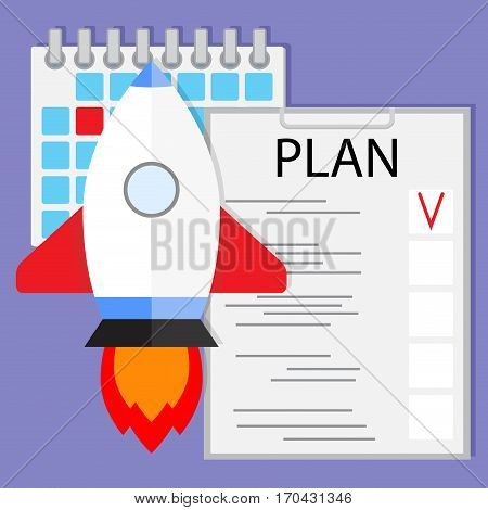 Schedule startup launch plan. Checklist to mission start-up shuttle rocket vector illustration