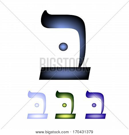 Hebrew font. The Hebrew language. The letter bet. Vector illustration on isolated background.