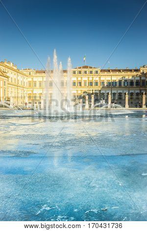 Iced Fountain In Front Of Villa Reale Of Monza, Italy In A Winter Day