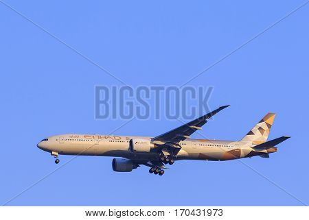 BANGKOK THAILAND - FEBUARY 11 : etihad airline plane arriving and approadching to landing to savarnabhumi airport on febuary 11 2017 in bangkok thailand