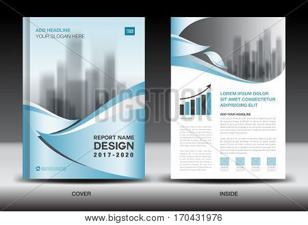 Annual report brochure flyer template, Blue cover design, business, book, magazine ads, booklet,catalog, infographics