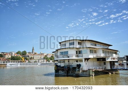 BELGRADE, SERBIA, JULY 2, 2014: Belgrade is famous for its floating restaurants and nightclubs on River Sava, Serbia.