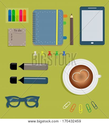 Stationery: Blue day planner spiral-bound with cute polka dots and tabs.Stiсkers. Markers Dark blue glasses.Pencil. Clips. Tablet. Button. A cup of coffee with a heart. Vector illustration.