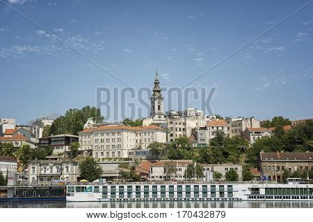BELGRADE, SERBIA, JULY 2, 2014: General view of Belgrade, the capital and largest city of Serbia. It is located at the confluence of the Sava and Danube rivers.