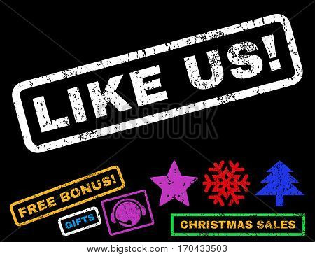 Like Us exclamation text rubber seal stamp watermark with additional bonus christmas symbols. Tag inside rectangular banner with grunge design and dirty texture.