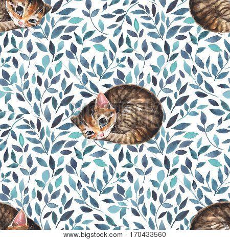 Sleepy cat. Seamless pattern with cute kitten. Watercolor background 1
