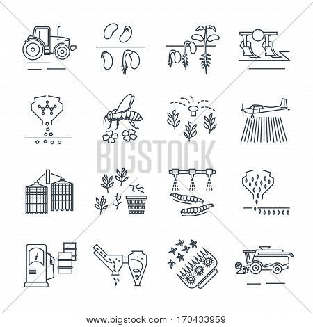 set of thin line icons agriculture farming crop production
