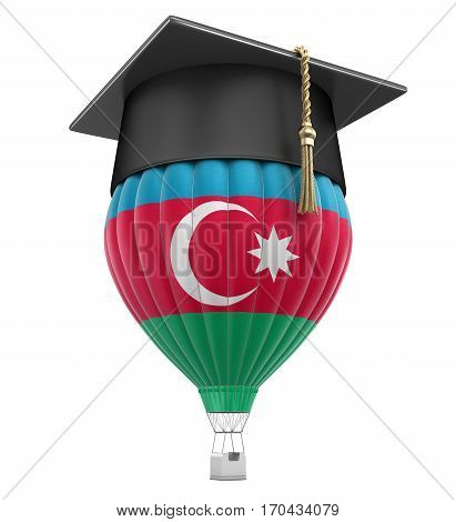 3D Illustration. Hot Air Balloon with Azerbaijan Flag and Graduation cap. Image with clipping path