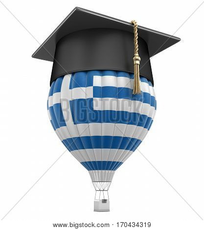3D Illustration. Hot Air Balloon with Greek Flag and Graduation cap. Image with clipping path