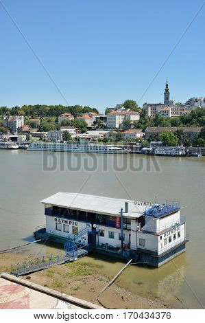 BELGRADE, SERBIA, JULY 4, 2014: Belgrade is famous for its floating restaurants and nightclubs on River Sava, Serbia.