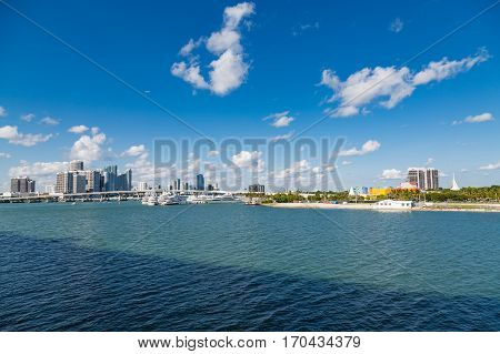 View of the Miami skyline from Biscayne Bay