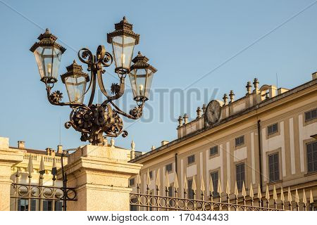 Lamp Post In Front Of Villa Reale Of Monza, Near Milan