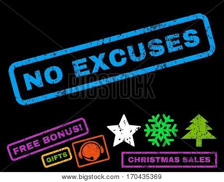 No Excuses text rubber seal stamp watermark with additional bonus christmas symbols. Tag inside rectangular shape with grunge design and dirty texture.