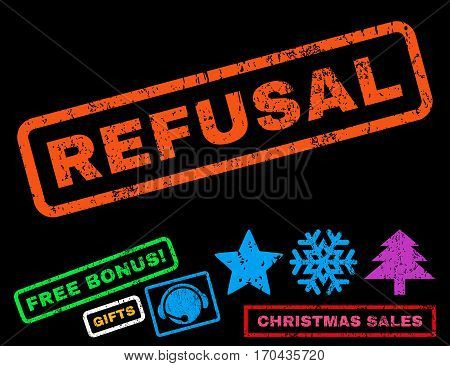 Refusal text rubber seal stamp watermark with bonus christmas symbols. Caption inside rectangular banner with grunge design and dirty texture.