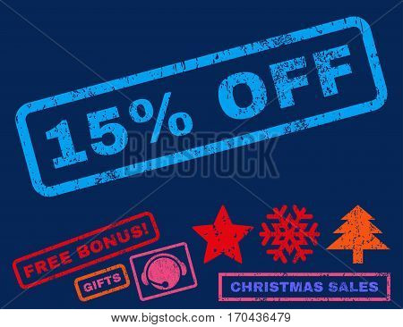 15 Percent Off text rubber seal stamp watermark with bonus christmas symbols. Tag inside rectangular banner with grunge design and unclean texture.