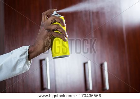 Hand spraying pesticide from a spray can at home