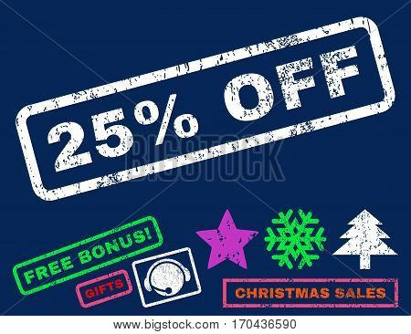 25 Percent Off text rubber seal stamp watermark with bonus new year symbols. Tag inside rectangular shape with grunge design and scratched texture.