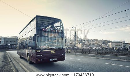 ISTANBUL, TURKEY, JANUARY 31, 2017: Sight seeing tourist bus