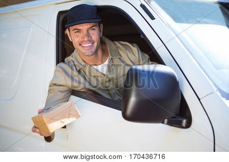 Delivery man with parcel looking through van window