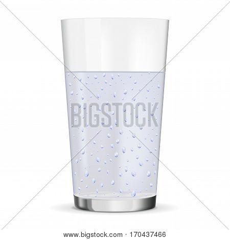 Glass of pure sparkling water. Vector illustration isolated on white background