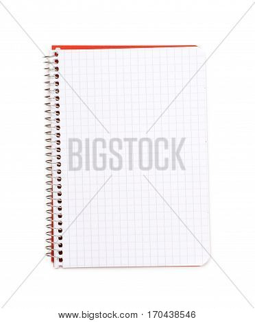 Opened squared paper notebook isolated over the white background
