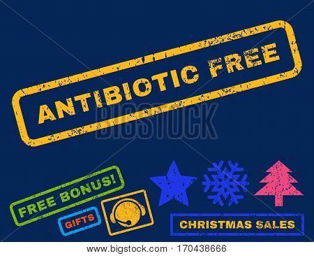 Antibiotic Free text rubber seal stamp watermark with bonus new year symbols. Tag inside rectangular shape with grunge design and scratched texture.